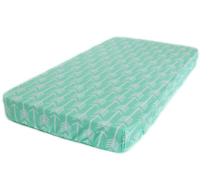 Bambella Designs Fitted Cot Sheet- Mint Arrow