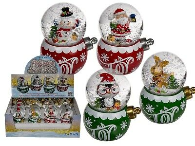 Christmas Snow Globe - Christmas Figurine Red Green Snow Shake Santa Gift