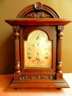 Antique German Bracket Clock Excellent Condition Working Chimes Walnut Wood