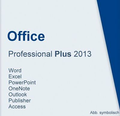 Microsoft Office 2013 Prof. Plus - Product Key für 2 PC's + Installations-DVD