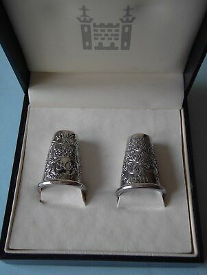 Two Solid Silver Thimbles, 80Th Birthday Of Queen Elizabeth Ii, Royal Mint, 2006