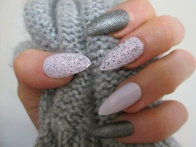 12 pink & dark grey glitter stiletto false nails, extra large for men or women