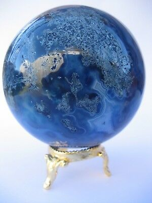 Blue Onyx 7.6cm 607g Crystal Ball Orb Sphere with Gold Stand Strength (BO002)