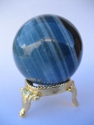 Blue Onyx 4.5cm 114g Crystal Ball Orb Sphere with Gold Stand Strength (BO003)