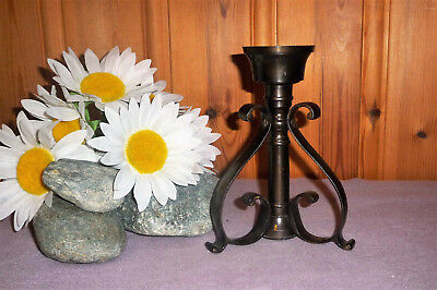 Vintage Cast Iron Brown Metal Ornate Candle Stick Holder Spanish Revival Gothic
