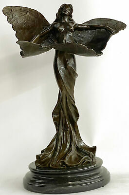 Bronze French Nude Female Butterfly Hot Cast Masterpiece Sculpture Statue MB