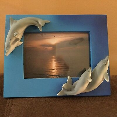 Dolphin Molded Picture Photo, light, medium and dark shades of blue