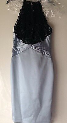 Bnwt, Pale Blue Satin And Black Lace Dress, Coast, Size 10