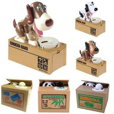 Panda Stealing Coin Money Cat Penny Cents Piggy Bank Saving Box dog Gift UK xmas