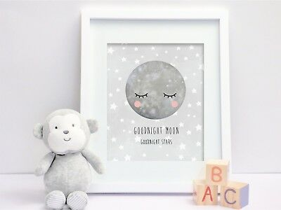 Goodnight Moon (Grey) - Nursery Print - Wall Art - Baby Room - Kids Bedroom