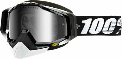 100% Snow Snowmobile RACECRAFT Goggles (Black w/ Dual Pane Mirror Silver Lens)