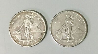 2x Philippines 1904 S peso coins w/ chopmarks - 2 coins