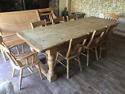 19th Century Victorian Pine Refectory Farmhouse Pine Table & Chairs