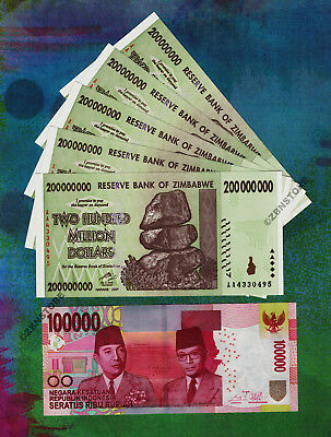 100,000 Indonesia Rupiah IDR+ 5 x 200 Million Zimbabwe Dollars Banknotes UNC Set