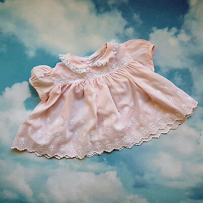 Vintage Baby Dress Pink Eyelet Lace Mid Century Infant Girl 6 - 9 month