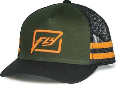 FLY RACING MX Motocross Kids HUCK IT Curved Bill Snap-Back Hat (Army/Orange)