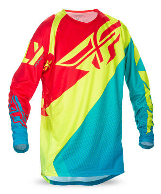FLY RACING MX MTB Kids 2017 EVOLUTION 2.0 Jersey (Dark Teal/Hi-Vis/Red) Youth XL