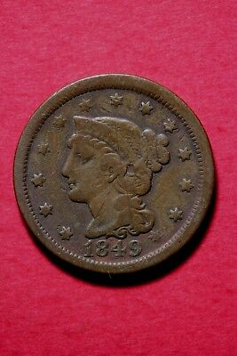 1849 Braided Hair Large Cent Exact Coin Pictured Flat Rate Shipping OCE#099