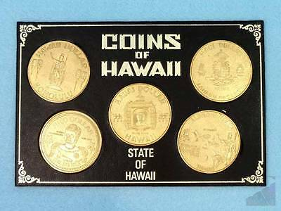 Coins of Hawaii (5) Framed Set Chiefa Souvenir Token Collectibles from State of
