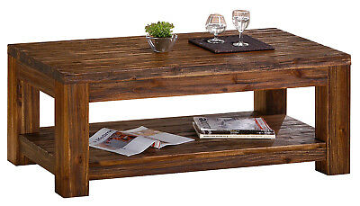 Coffee Table Rustic Antique Solid Acacia Dark Brown Rectangle Top  - Assembled