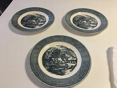 Royal (Usa) Currier And Ives Blue - Jeanette, Oldgri - 4 Dinner Plates