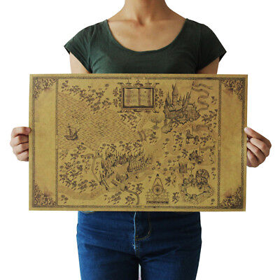 US Seller- Harry Potter Magic Old World Map kraft paper retro poster wall poster