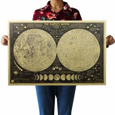 US SELLER- Earth's Moon World Map kraft paper retro poster office bar wall decor