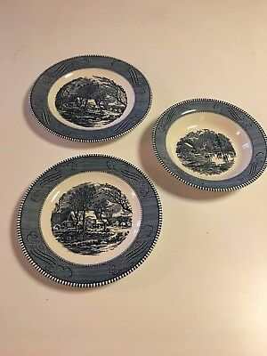 Royal (Usa) Currier And Ives Blue - 1 Ea. Dinner, Luncheon & Soup Bowl -3 Total