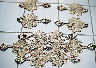 Gorgeous Beige Hand Crochet Table Runner & 4 Doilies Shaped as Grapes w/ Leaves