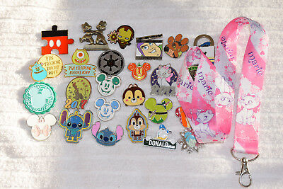 Disney trading 25 pin lot + Marie Aristocats LANYARD HM booster Star Wars Tsum