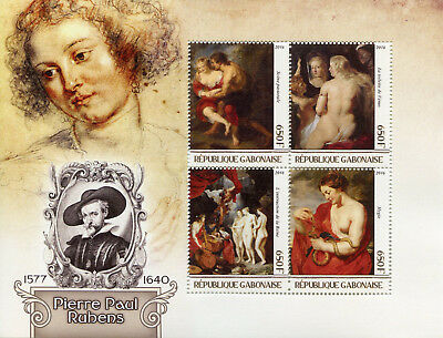 Gabon 2016 MNH Peter Paul Rubens Nudes 4v M/S Nude Paintings Art Stamps