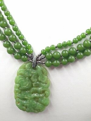 Vintage Art Deco Chinese Green Apple Jade Peking Glass Carved Oriental Necklace!