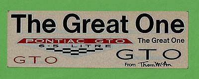 VTG 1966 Advertising Pontiac GTO Thom McAn The Great One Decals N