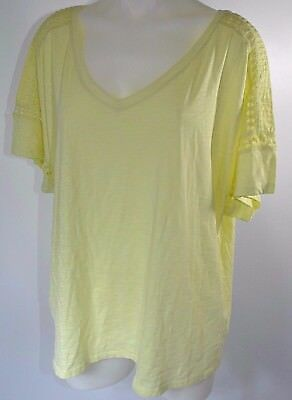 9a242886 Lane Bryant Plus Size Short Sleeve T Shirt Top Yellow Green Lace V Neck 26  28