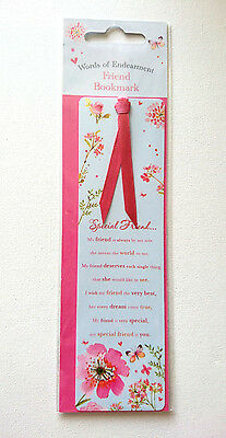 SPECIAL FRIEND BOOKMARK Words of Endearment PINK RIBBON TAIL Carte Blanche GIFT