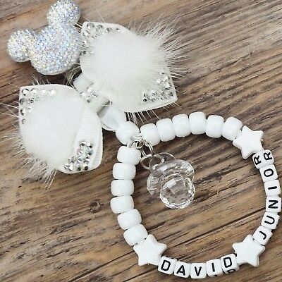 Personalised stunning pram charm in  white baby girls boys unisex