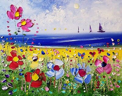 Beach & meadow flowers in love, original oil painting on canvas, by Phil Broad