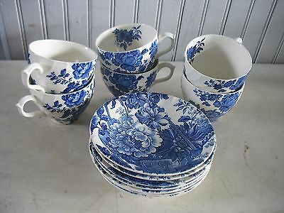 "Vtg blue & white English ROYAL CROWNFORD ""Charlotte"" cup & saucer SET OF 6"