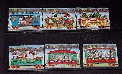 St.vincent Disney Characters Mickey Mouse,donald Duck, Set Of 6 Fine M/n/h