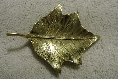 Vintage Solid Brass Poinsetta 3-44 Leaf Dish Ashtray Signed VGM 1948