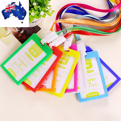 Lanyard Plastic Business ID Badge Card Vertical Holders with Neck Strap