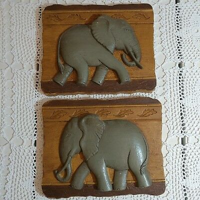 Elephant Wall Plaques Vintage Home Interiors Set of 2 Resin Quality Pieces