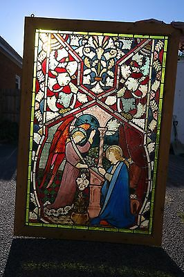 """60"""" x 41"""" Annunciation Mary Gabriel Antique Leaded Stained Glass Window Church"""