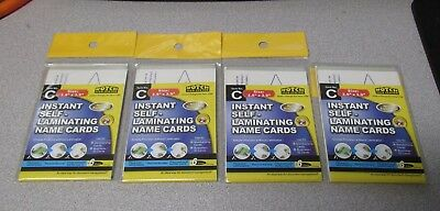 """Lot of 4 Instant Self Laminating Name Cards 6/Pack 2.6""""x3.9"""" No Machine Required"""