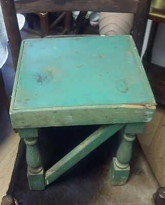 Antique Louisiana Cajun Handmade Wooden Stool..Old Green SUPER!
