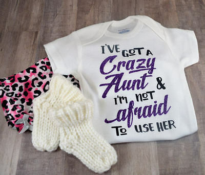 Ive Got A Crazy Aunt Baby Shower Idea Boy Girl Toddler Clothes Romper BFF Bestie