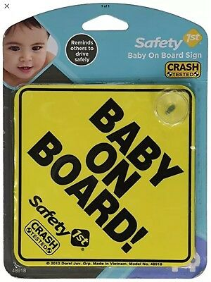 Safety 1st Yellow Baby On Board Sign With Suction Cup Crash Tested 48918