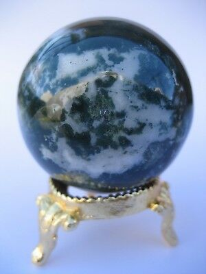 Bloodstone 4.4cm 117g Crystal Ball Orb Sphere with Gold Stand Strength (BL002)