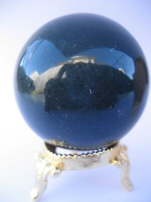 Bloodstone 5cm 163g Crystal Ball Orb Sphere with Gold Stand Strength (BL004)