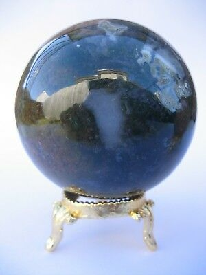 Bloodstone 6.3cm 326g Crystal Ball Orb Sphere with Gold Stand Strength (BL005)